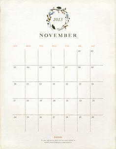 November 2013 free & beautiful monthly calendar printable   |   A Woodland November – posted in The BULLETIN on November 1, 2013 via Terrain (shopterrain.com)