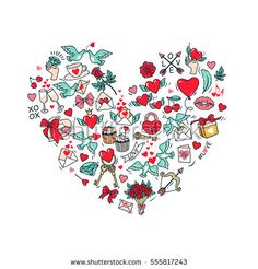 Greeting card for Happy Valentine's day. Love Poster. The shape of a heart consisting of the symbols and decorative elements of St. Valentine. White background. Vector Illustration