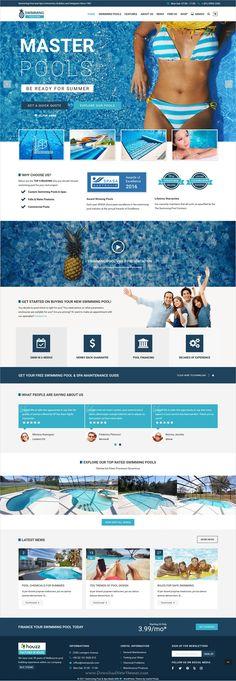 Maquette Web U2014 Piscines Concept #webdesign #website #design #piscine # Swimming #pool #blue #template | Website | Pinterest | Web Desing, Website  Ideas And ...