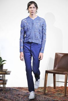 'Memba the gorgeous crochet motif pieces they showed for women in the Resort 2016 collection? Now they're for men, too. Orley Spring 2016 Menswear