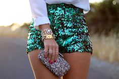 Sequin Shorts / Beaded Clutch / Ring Stacks