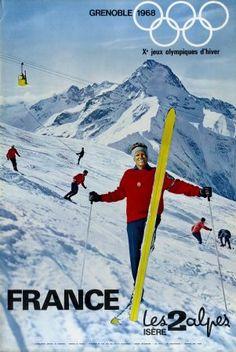 Grenoble 1968 - Xè Jeux Olympiques d'Hiver - Les 2 Alpes Isère France - Affiche originale