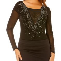 Body sexy noir col V tulle & strass 34 AU 42 - bestyle29.com