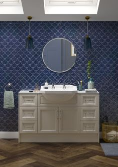 Mermaid tiles are perfect for those looking to make a statement, with contrasting coloured grouting helping them to take centre stage. Heritage Bathroom, Mermaid Tile, Bathroom Showrooms, Bathroom Plans, Bathroom Trends, Art Deco Design, Beautiful Bathrooms, Beautiful Space, Black House