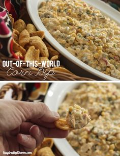 Out-of-this-World Corn Dip..I've had this and it's great, but substitute the sour cream for whipped cream cheese and it makes this great dip go from great to amazing.  ((and we also leave out or back off the qty of jalepanos so everyone can enjoy it)