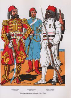 Egyptian Battalion, Mexico, 1863-1867: Bimbashi (Major), Gala Dress; Melasemevel (Lieut.), Field Dress; Onbashi (Corporal), Marching Order