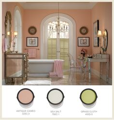 vintage bed room with a light blue, light yellow, and gold color scheme | It doesn't get more feminine than pink walls in bath/dressing area ...