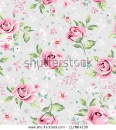 seamless cute vintage tiny flower pattern on grey background - stock vector