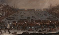 The Frost Fair of the Winter of 1683-84 on the Thames (1685) as painted by an unknown artist. Notice Old London Bridge with its houses on it in the distance.