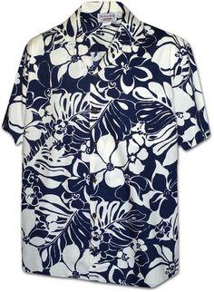 6bf366e07e7a6 Hapa Pua Lau Pareau Men s Hawaiian Aloha Shirts - Navy - CH11VIB4INH