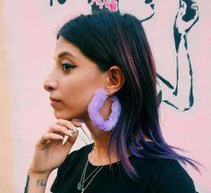 Pastel Goth Fluffy Hoop Earrings Faux Fur Earrings Large