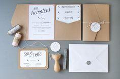 Einladung Hochzeit DIY | Pocketfold, Save-the-Date mit Stempel und Siegel