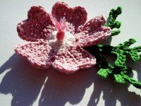 1500 Free Amigurumi Patterns: Crochet pattern .. musk mallow flower and leaf pattern
