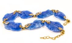Cerulia Necklace, hand carved blue agate flower petals, ornamented with white gold leaves and teardrop rainbow moonstone - Gold Couture Collection by Mahlia