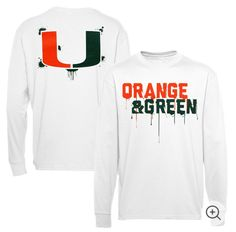 Miami Hurricanes Youth Colors Long Sleeve T-Shirt – White Little League Football, Youth Football, Football Shirts, Miami Hurricanes Apparel, Hurricanes Football, University Of Miami, Graphic Sweatshirt, T Shirt, Jeans Fit