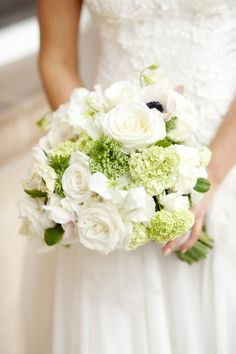 Beautiful White & Green Bouquet by Rebecca Grace: See the wedding on SMP: http://www.StyleMePretty.com/australia-weddings/western-australia-au/perth/2014/03/03/traditional-perth-wedding/ Photography: DeRay & Simcoe