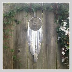 White and Gray Dream Catcher, Boho Dreamcatcher with Crystal, Nursery Decor, Bedroom Decor, Baby Shower Gift, Birthday Gift by InspiredSoulShop on Etsy
