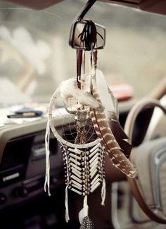 White Dreamcatcher ~ Rear view mirror ~ Car