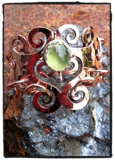 Cupid's Thornband of Eternity--OOAK Handmade Artisan Copper, Sterling Silver & Prehnite Bracelet of Legend