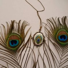Peacock feather necklace Feather Necklace Cross stitch