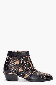 ShopStyle: CHLOE Black Studded Susan Boots