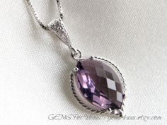 Amethyst Purple Necklace cubic zirconia bail with by gems4uuu, $25.99