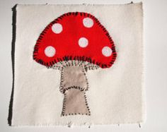 Hand Sewn Cute Animal Patches, Fox, Snail, Pig, and a Mushroom. Orgainic Cotton, Recycled Fabric