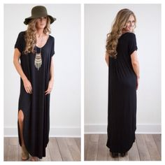 ❗️LAST❗️ Black Maxi Dress Oversized Loose Boho My best seller this season has now been restocked with new colors!! Brand new. Runs big, so if you're in between sizes, size down! L can fit XL. Has pockets. Available in Solid Black (S or M) or tie dye blues navy or Royal S m l Please specify color when ordering! Dresses Maxi
