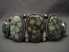 vintage navajo big carico lake turquoise silver bracelet