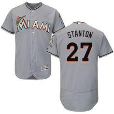 Grey Giancarlo Stanton Authentic Jersey - Men s Majestic MLB Miami Marlins   27 Flexbase Collection Giancarlo 143df8a2a