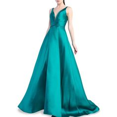Mac Duggal Women's Pleated V-Neck Ball Gown ($279) ❤ liked on Polyvore featuring dresses, gowns, emerald, v-neck dresses, v neck evening gown, sleeveless dress, blue dresses and v neck gown