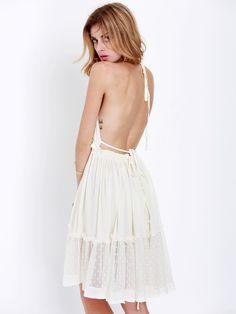 White Halter Backless Pleated Dress