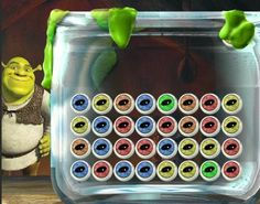 Hey Kids, in this game, Shrek is very hungry for some delicious eyeball soup. To be able to do that he needs to organize his jar of eyeballs, and make sure he is not going to mess up the recipe. Help Shrek out so he can enjoy his tasty ogre treat.