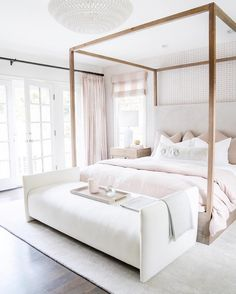 Creating a cozy bedroom with beautiful soft layers of bedding, padded headboard and a fur throw. Add some chic wire baskets for essentials, a guest chair and you're set! decor cozy bedroom Jasmine Tookes Los Angeles Home Tour Cozy Bedroom, Dream Bedroom, Home Decor Bedroom, Bedroom Furniture, Blush Bedroom, Bedroom Ideas, Bedroom Inspo, Sofa In Bedroom, Bedroom Inspiration Cozy