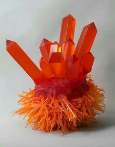 Carson Fox - Orange Crystal Spikes - it looks like jello! I almost wanna eat it lol Cool Rocks, Beautiful Rocks, Beautiful Things, Beautiful Pictures, Orange Crystals, Stones And Crystals, Gem Stones, Minerals And Gemstones, Rocks And Minerals