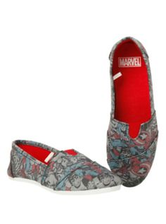 Marvel Characters Print Slip-On Shoes