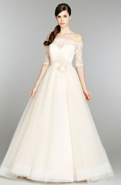 YES GAGA YES! LOVE THIS. Classic, elegant, gorgeous... wedding dress. Love it. Tara Keely - Bateau A-Line Gown in Tulle