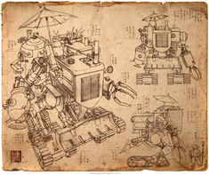 A mix between a industrial tractor, a steampunk robot, and multiple farming tools, the Harvester is the ultimate farming solution. From concept artist James Ng. Steampunk City, Steampunk Kunst, Steampunk Design, Character Concept, Concept Art, Book Posters, Harvester, Pencil Illustration, Dieselpunk
