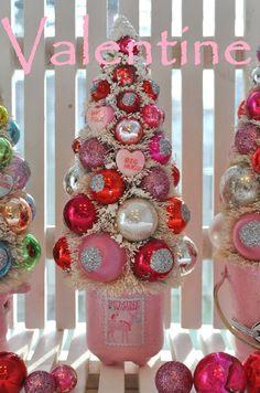 Oh Deer Pink Valentine Bottle Brush Tree pink by RuinBibber, $44.00