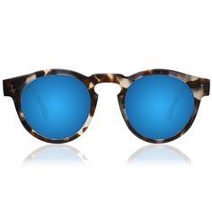 Illesteva - Leonard - White Tortoise with Blue Mirrored Lenses are unisex sunglasses in a white tortoise acetate featuring blue mirrored lenses.