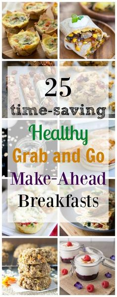 Save precious time in the morning with these irresistible healthy, grab and go, make-ahead breakfast recipes! Breakfast has never been so easy! Make Ahead Brunch Recipes, Healthy Make Ahead Breakfast, Make Ahead Meals, Healthy Snacks, Easy Meals, Healthy Recipes, Easy Recipes, Healthy Breakfasts, Quick And Easy Breakfast