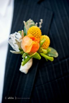 Groom's boutonniere made with dusty miller, peach ranunculus and billy balls.