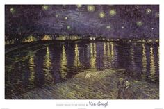 Vincent Van Gogh Starry Night Over the Rhone White Border Art Print Poster 36 x 24in