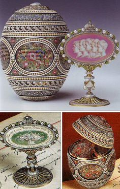 "The ""Mosaic Egg"" Fabergé Egg: Presented by Nicholas to Alexandra in 1914. The pavé-set diamonds and gems in a floral pattern resembles petit point tapestry work. The surprise is a removable miniature frame with relief profiles of Nicholas and Alexandra's five children in a cameo brooch style. The back of the frame is enameled with a sepia basket of flowers, bordered with the year 1914 and the names of each of the Romanov children. It is now in the private collection of Queen Elizabeth II."