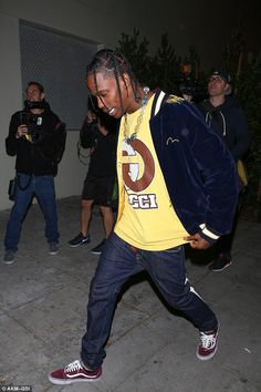 One of her men: Travis Scott could be seen entering the fete. He also reportedly sang...