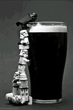 Apparently coming to the dark side can be challenging if you're LEGO Minifigure . And Guinness is yummy so who can fault them the effort Lego Star Wars, Theme Star Wars, Star Wars Art, Star Trek, Dark Side, Images Star Wars, Lego Photography, White Photography, Lego Worlds