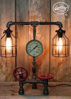 "Steampunk Industrial Lamp with 5"" Pressure Gauge"