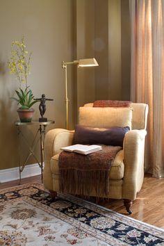 #AvalonInteriors: Library/music room, #DecorRest custom upholstered chair