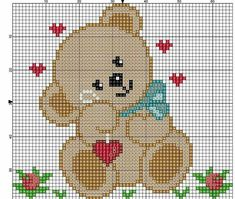 Bear with Hearts Cross Stitch Cards, Cross Stitch Borders, Cross Stitch Baby, Cross Stitch Animals, Cross Stitch Designs, Cross Stitching, Cross Stitch Embroidery, Cross Stitch Patterns, Pixel Crochet Blanket