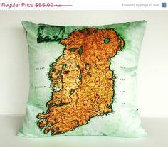 SALE decorative pillow IRELAND Organic cotton by mybeardedpigeon, $50.00 #stpatricksday#irsih #ireland #map #atlas #mapcushion #mybeardedpigeon